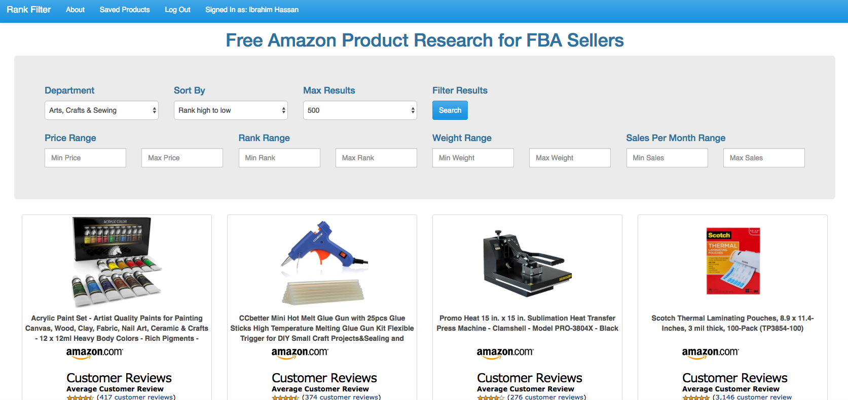 Free Amazon Product Research for FBA Sellers – Introducing Rankfilter.com